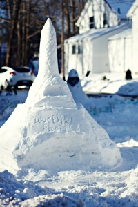 snow sculpture of the eiffel tower