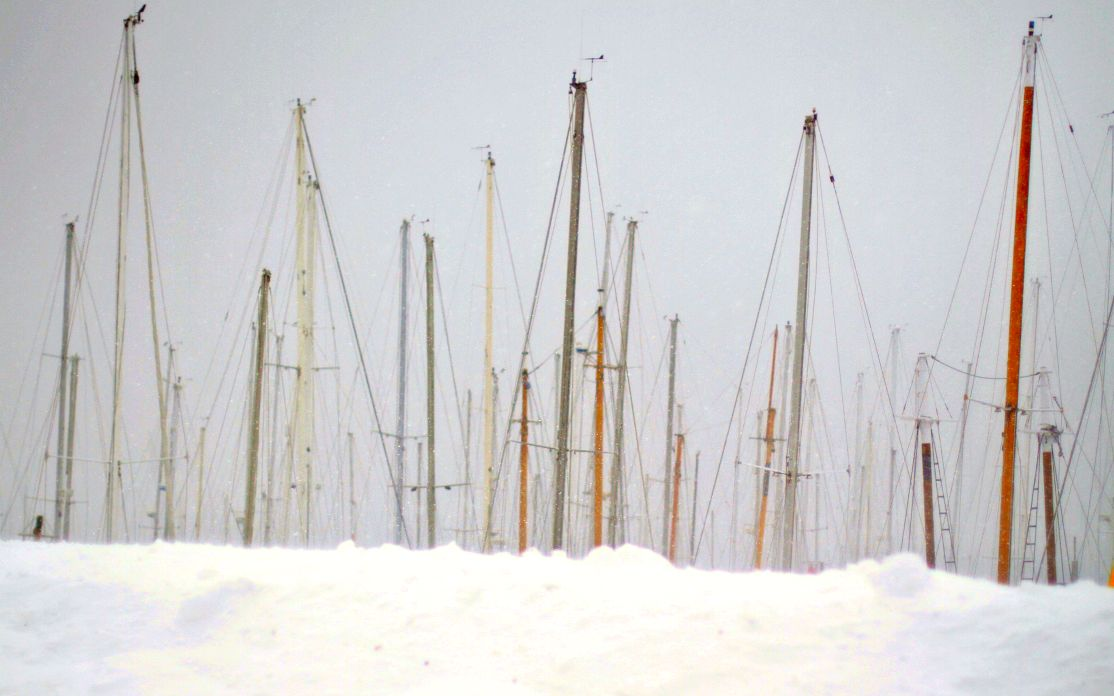 sailboats in Rockland harbor  Maine Blizzard Nemo