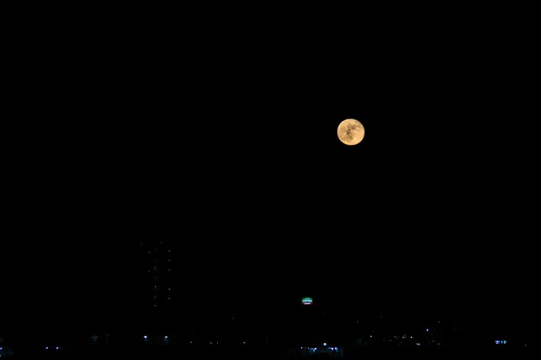 Harvest Moon over Galveston