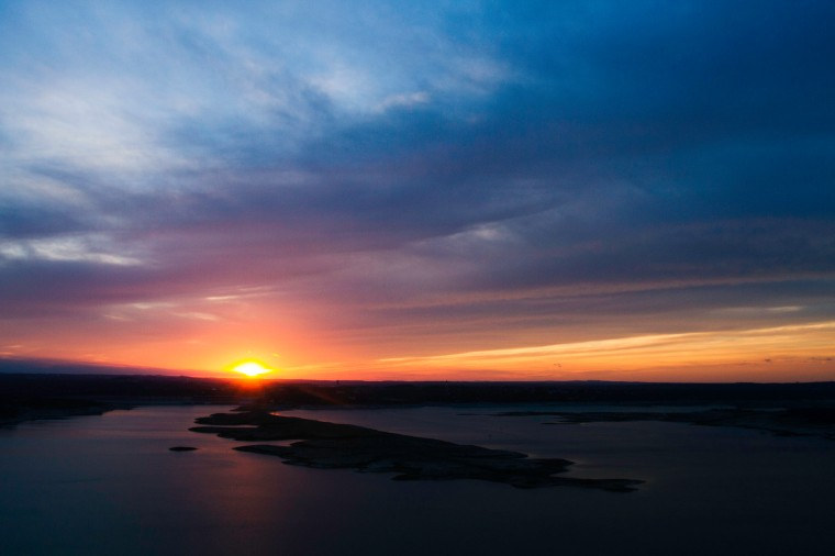 sunset at The Oasis on lake Travis