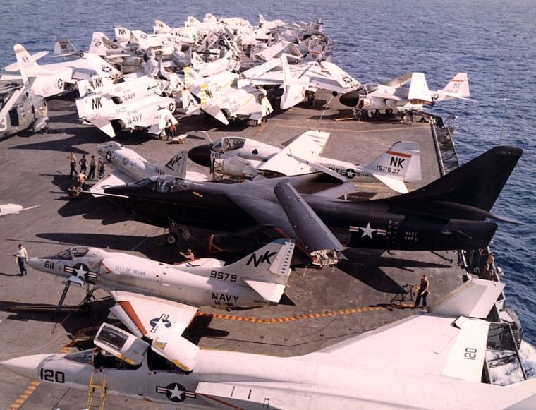 USS CONSTELLATION CVA-64 Flight deck 1967 A3 Skywarrior Image: Wikipedia