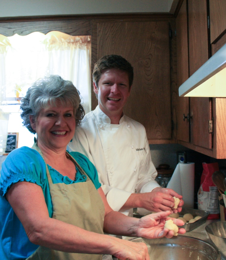 Easter 2011..Chef and his Momma working up dough